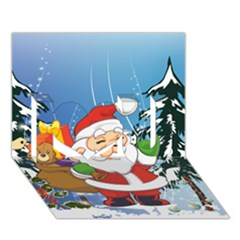 Funny Santa Claus In The Forrest I Love You 3D Greeting Card (7x5)