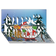 Funny Santa Claus In The Forrest Happy Birthday 3D Greeting Card (8x4)