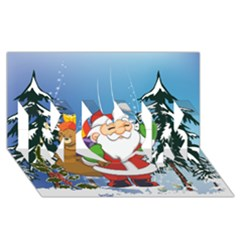 Funny Santa Claus In The Forrest MOM 3D Greeting Card (8x4)