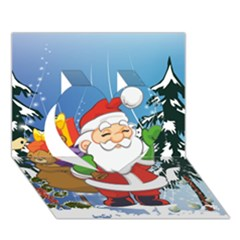 Funny Santa Claus In The Forrest Heart 3d Greeting Card (7x5)