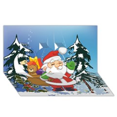 Funny Santa Claus In The Forrest Twin Hearts 3D Greeting Card (8x4)