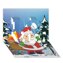 Funny Santa Claus In The Forrest Love 3d Greeting Card (7x5)