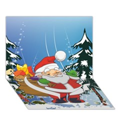 Funny Santa Claus In The Forrest Heart Bottom 3d Greeting Card (7x5)