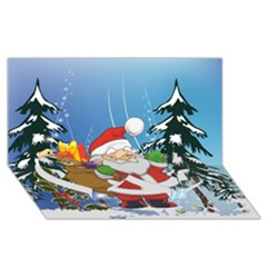 Funny Santa Claus In The Forrest Twin Heart Bottom 3d Greeting Card (8x4)