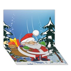 Funny Santa Claus In The Forrest Circle Bottom 3D Greeting Card (7x5)