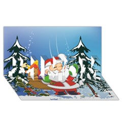 Funny Santa Claus In The Forrest #1 MOM 3D Greeting Cards (8x4)