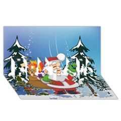 Funny Santa Claus In The Forrest BEST SIS 3D Greeting Card (8x4)