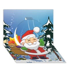 Funny Santa Claus In The Forrest Circle 3D Greeting Card (7x5)