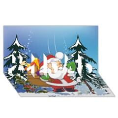 Funny Santa Claus In The Forrest #1 DAD 3D Greeting Card (8x4)