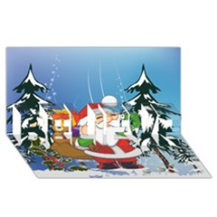 Funny Santa Claus In The Forrest Believe 3d Greeting Card (8x4)