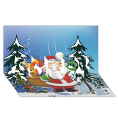 Funny Santa Claus In The Forrest SORRY 3D Greeting Card (8x4)