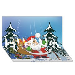 Funny Santa Claus In The Forrest Engaged 3d Greeting Card (8x4)