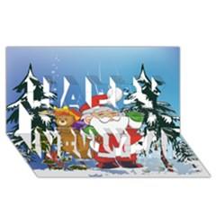 Funny Santa Claus In The Forrest Happy New Year 3d Greeting Card (8x4)
