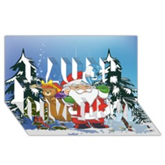 Funny Santa Claus In The Forrest Laugh Live Love 3D Greeting Card (8x4)