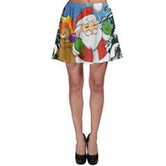 Funny Santa Claus In The Forrest Skater Skirts