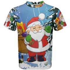 Funny Santa Claus In The Forrest Men s Cotton Tees