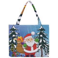 Funny Santa Claus In The Forrest Tiny Tote Bags