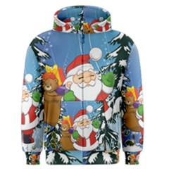 Funny Santa Claus In The Forrest Men s Zipper Hoodies