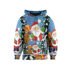 Funny Santa Claus In The Forrest Kids Zipper Hoodies
