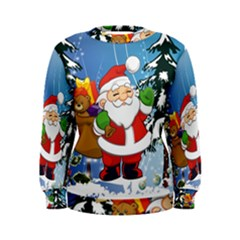 Funny Santa Claus In The Forrest Women s Sweatshirts