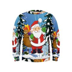 Funny Santa Claus In The Forrest Boys  Sweatshirts