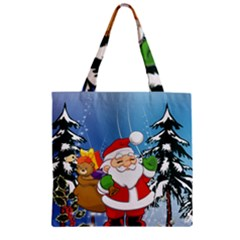 Funny Santa Claus In The Forrest Zipper Grocery Tote Bags