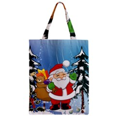 Funny Santa Claus In The Forrest Zipper Classic Tote Bags