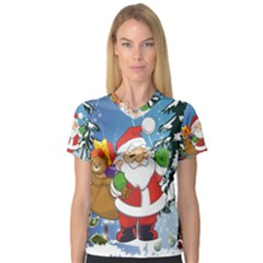 Funny Santa Claus In The Forrest Women s V-Neck Sport Mesh Tee