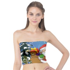 Funny Santa Claus In The Forrest Women s Tube Tops