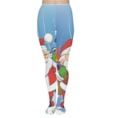 Funny Santa Claus In The Forrest Women s Tights