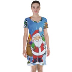Funny Santa Claus In The Forrest Short Sleeve Nightdresses