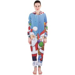 Funny Santa Claus In The Forrest Hooded Jumpsuit (ladies)