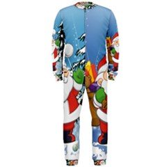 Funny Santa Claus In The Forrest OnePiece Jumpsuit (Men)