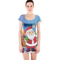 Funny Santa Claus In The Forrest Short Sleeve Bodycon Dresses