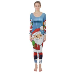 Funny Santa Claus In The Forrest Long Sleeve Catsuit