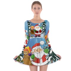 Funny Santa Claus In The Forrest Long Sleeve Skater Dress
