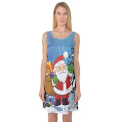 Funny Santa Claus In The Forrest Sleeveless Satin Nightdresses