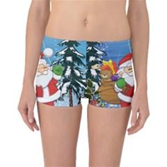 Funny Santa Claus In The Forrest Boyleg Bikini Bottoms