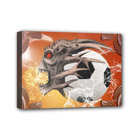 Soccer With Skull And Fire And Water Splash Mini Canvas 7  x 5