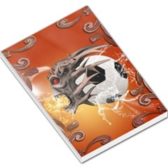 Soccer With Skull And Fire And Water Splash Large Memo Pads