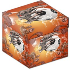 Soccer With Skull And Fire And Water Splash Storage Stool 12