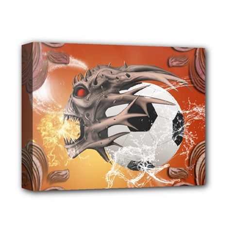 Soccer With Skull And Fire And Water Splash Deluxe Canvas 14  x 11