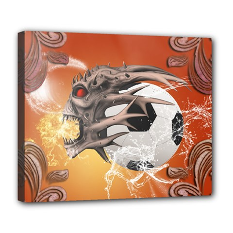 Soccer With Skull And Fire And Water Splash Deluxe Canvas 24  x 20