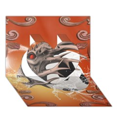 Soccer With Skull And Fire And Water Splash Heart 3D Greeting Card (7x5)