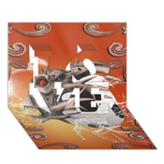 Soccer With Skull And Fire And Water Splash Love 3d Greeting Card (7x5)