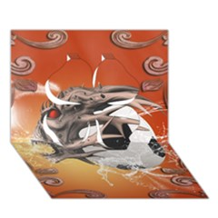Soccer With Skull And Fire And Water Splash Clover 3D Greeting Card (7x5)