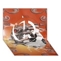 Soccer With Skull And Fire And Water Splash Peace Sign 3d Greeting Card (7x5)