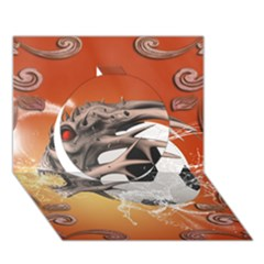 Soccer With Skull And Fire And Water Splash Circle 3D Greeting Card (7x5)