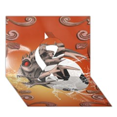 Soccer With Skull And Fire And Water Splash Ribbon 3d Greeting Card (7x5)