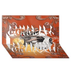 Soccer With Skull And Fire And Water Splash Congrats Graduate 3D Greeting Card (8x4)